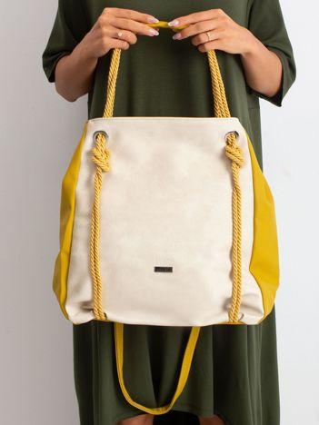 Beżowo-oliwkowa damska torba