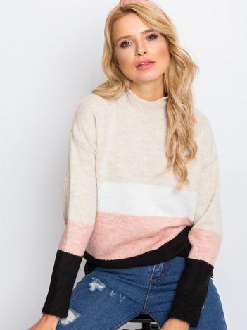 Beżowo-różowy sweter Denise