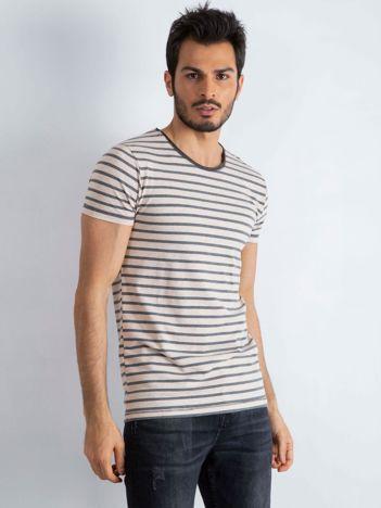 Beżowo-szara koszulka męska Foreign