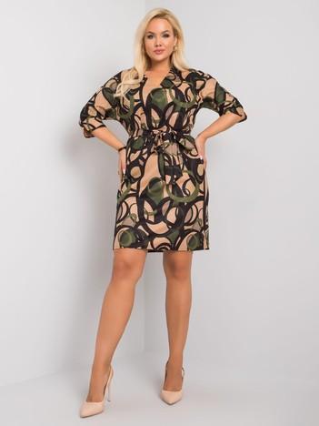 Beżowo-zielona sukienka plus size we wzory Jenny