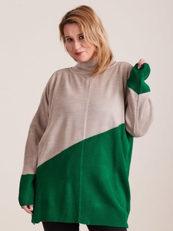 Beżowo-zielony sweter z golfem PLUS SIZE