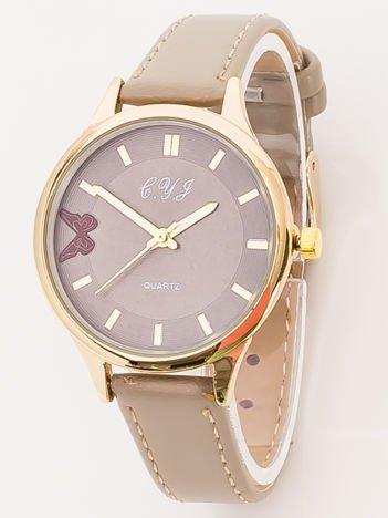 Beżowy Zegarek Damski z Motylem