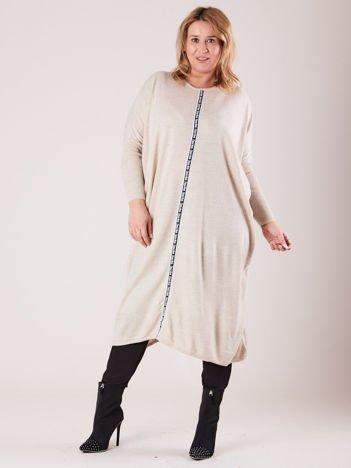 Beżowy damski długi sweter PLUS SIZE