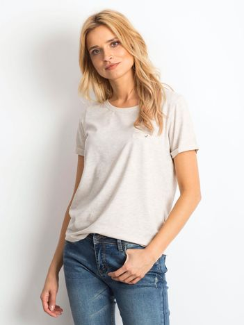 Beżowy melanżowy t-shirt Transformative