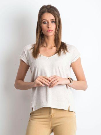 Beżowy melanżowy t-shirt Vibes