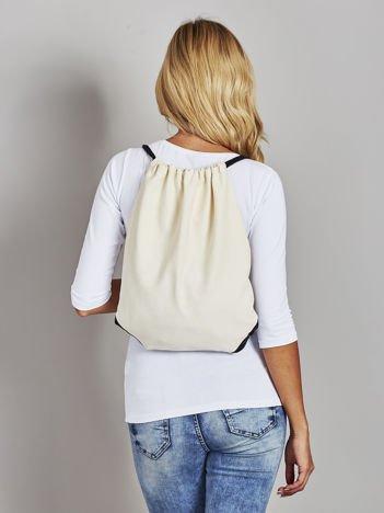 Beżowy płócienny plecak worek
