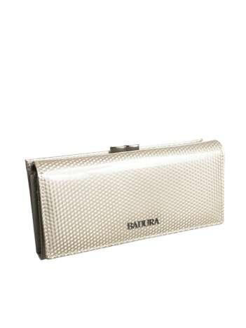 Beżowy podłużny portfel skórzany BADURA