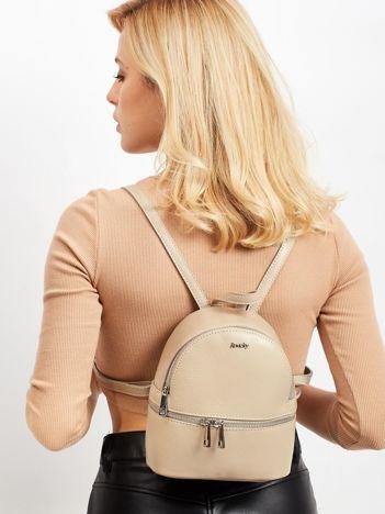 Beżowy skórzany plecak damski