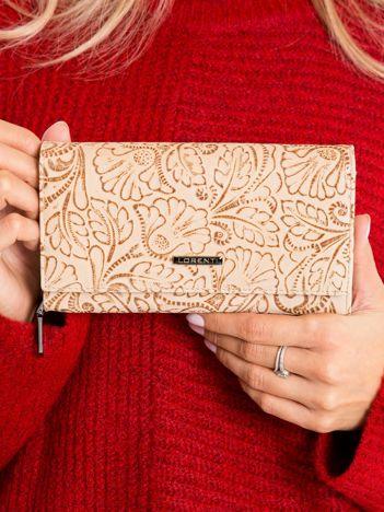 Beżowy skórzany portfel z tłoczeniem