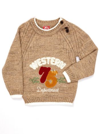 Beżowy sweter dla chłopca z napisem