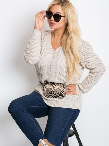 Beżowy sweter plus size Latte
