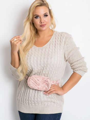 Beżowy sweter plus size Now