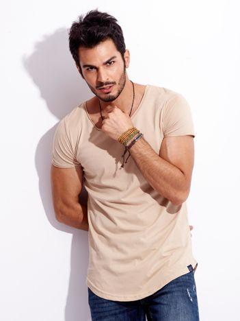 Beżowy t-shirt męski basic