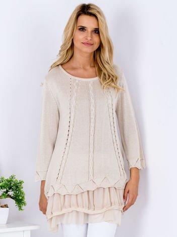 Beżowy warstwowy sweter