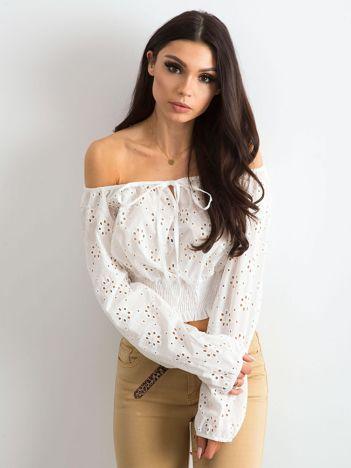 Biała ażurowa bluzka z długim rękawem