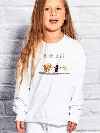 Biała bluza dziecięca POPCORN & FIZZY DRINKS
