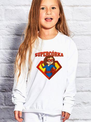 Biała bluza dziecięca SUPER CÓRKA brunetka