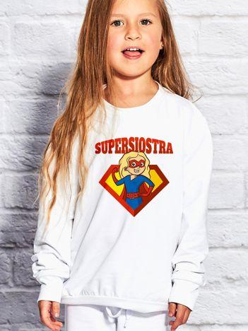 Biała bluza dziecięca SUPER SIOSTRA blondynka