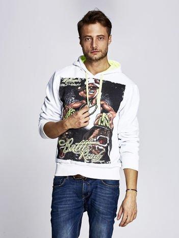Biała bluza męska z raperskim nadrukiem