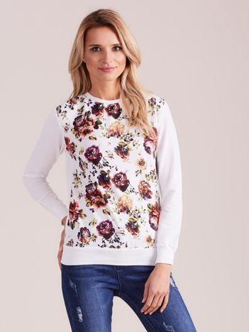 Biała bluza vintage z nadrukiem kwiatów