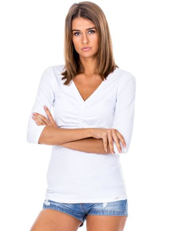 Biała bluzka V-neck z marszczeniem