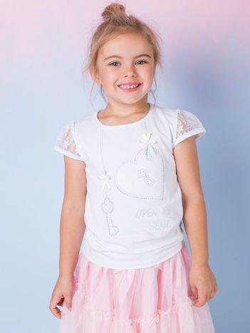 Biała bluzka dla dziewczynki z dżetami
