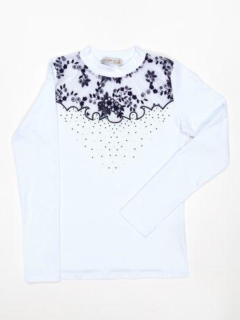 Biała bluzka dziewczęca z koronkową aplikacją