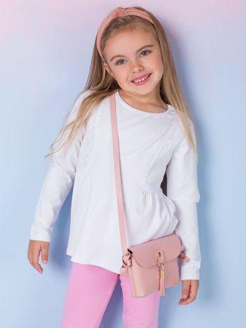 Biała bluzka dziewczęca z koronkowymi wstawkami