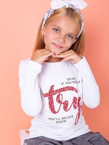 Biała bluzka dziewczęca z nadrukiem