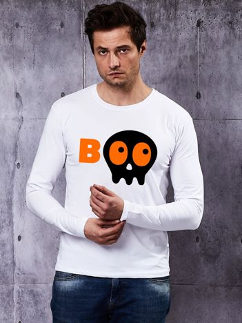 Biała bluzka męska BOO z nadrukiem Halloween