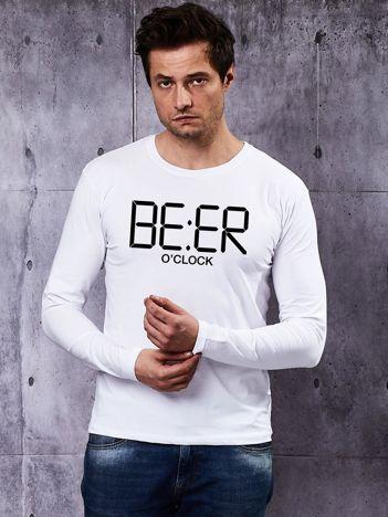 Biała bluzka męska z długim rękawem BEER O'CLOCK