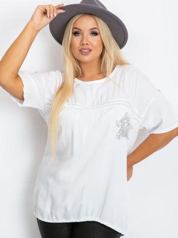Biała bluzka plus size z cekinami