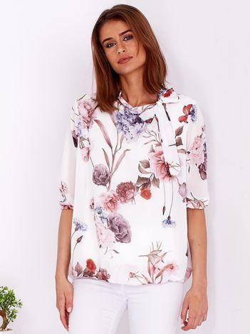Biała bluzka w kwiaty z wiązanym dekoltem