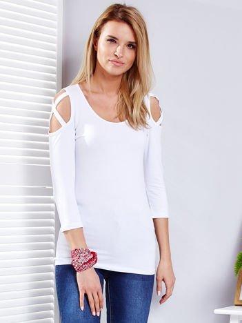 Biała bluzka z cienkimi paseczkami na rękawach