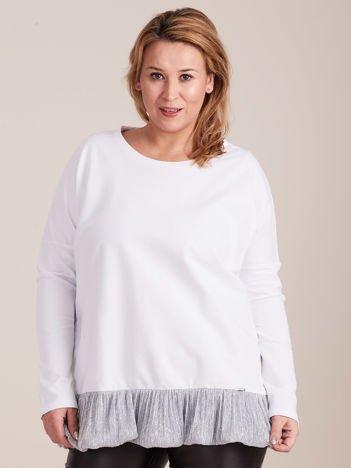Biała bluzka z falbanką PLUS SIZE