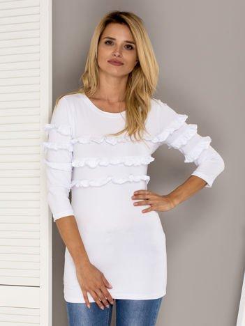 Biała bluzka z falbankami