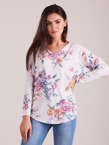 Biała bluzka z kwiatowym nadrukiem