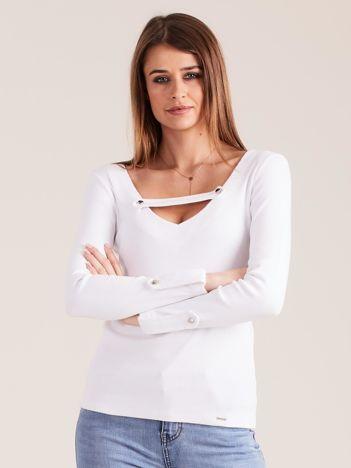 Biała dopasowana bluzka V-neck