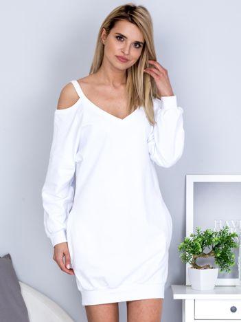 Biała dresowa sukienka cold arms