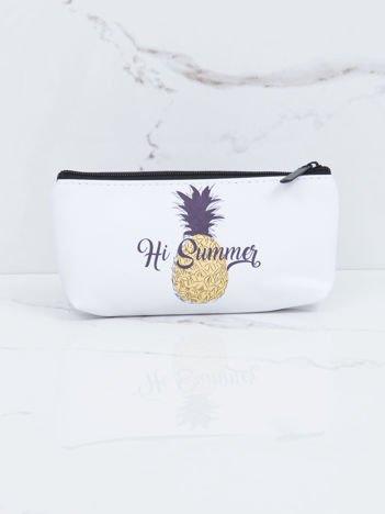 Biała kosmetyczka z nadrukiem ananasa