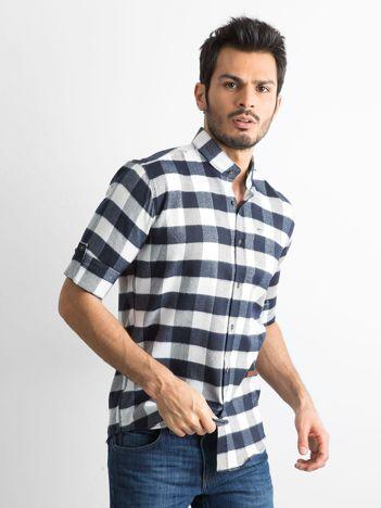 Biała koszula męska slim fit w kratę