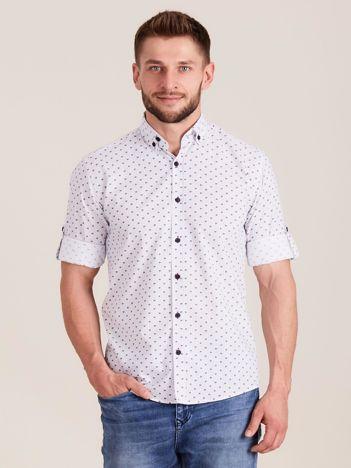 Biała koszula męska w drobne wzory