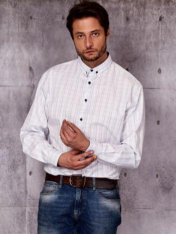 Biała koszula męska we wzór kratki PLUS SIZE