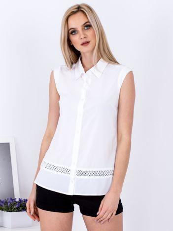 Biała koszula z ażurową wstawką PLUS SIZE