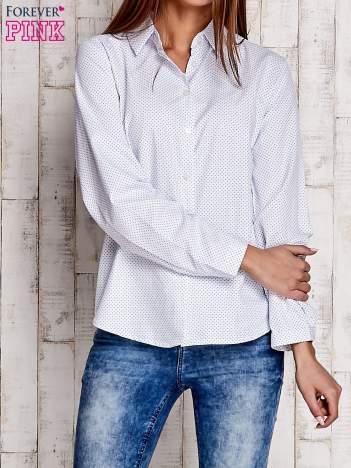 Biała koszula z delikatnym nadrukiem