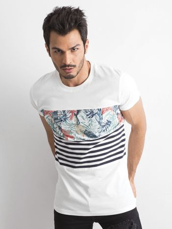 Biała koszulka męska z printem