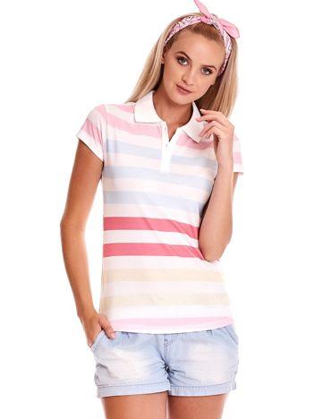 Biała koszulka polo w kolorowe paski