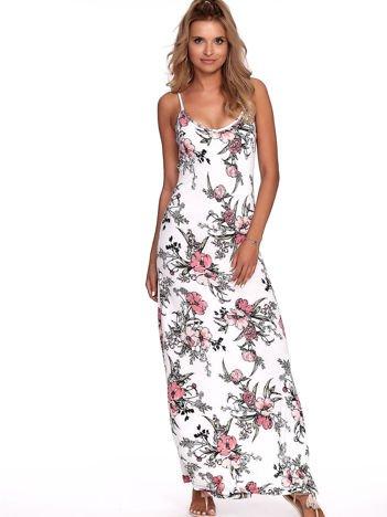 Biała kwiatowa sukienka maxi