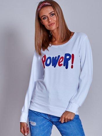Biała lekka bluza z naszywką POWER