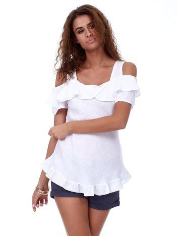 Biała lniana bluzka z falbanami